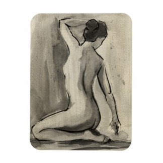 Nude Sketch of Female Body by Ethan Harper Magnets