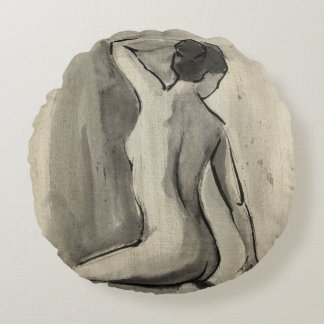 Nude Sketch of Female Body by Ethan Harper Round Pillow