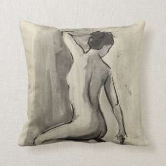 Nude Sketch of Female Body by Ethan Harper Throw Pillow