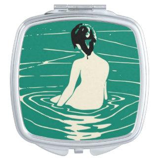 NUDE WOMAN BATHING MAKEUP MIRROR