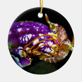 Nudibranch Laying Egg Sea Squirt Polycarpa Aurata Double-Sided Ceramic Round Christmas Ornament