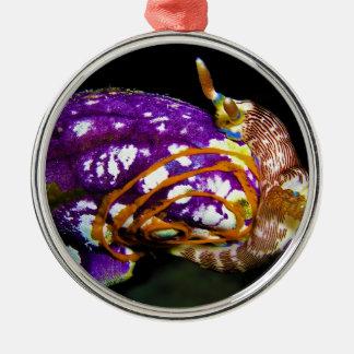 Nudibranch Laying Egg Sea Squirt Polycarpa Aurata Round Metal Christmas Ornament
