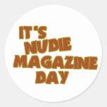 Nudie Magazine Day Round Sticker