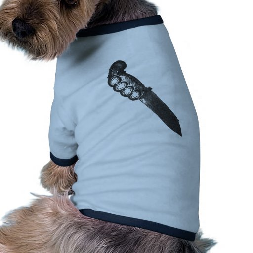 nudillos de cobre amarillo de la daga del pirata camiseta con mangas para perro