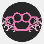 Nudillos de cobre amarillo rosados pegatinas redondas