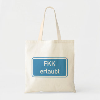 Nudism Allowed Sign, Germany Tote Bags
