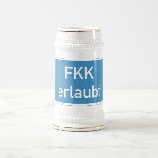 Nudism Allowed Sign, Germany Beer Stein
