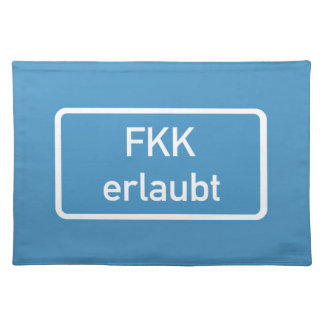 Nudism Allowed Sign, Germany Cloth Placemat