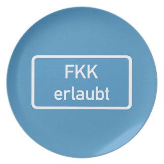 Nudism Allowed Sign, Germany Melamine Plate
