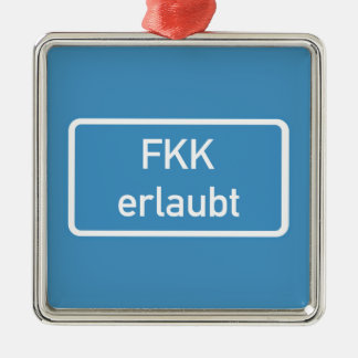 Nudism Allowed Sign, Germany Christmas Ornament
