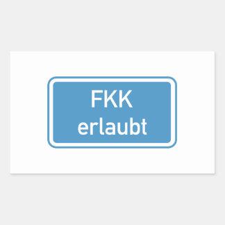 Nudism Allowed Sign, Germany Rectangular Sticker