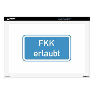 Nudism Allowed Sign, Germany Laptop Decal