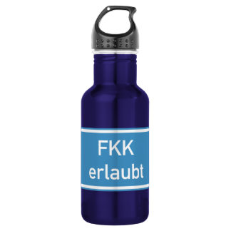 Nudism Allowed Sign, Germany Water Bottle