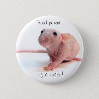 Nudist Rat Pinback Button
