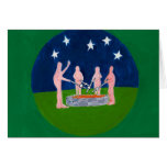 nudists at campfire stationery note card
