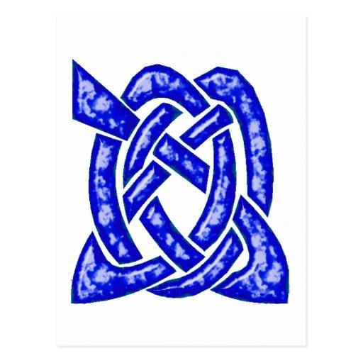 Nudo céltico 6 azul marino postal