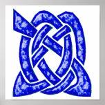 Nudo céltico 6 azul marino poster