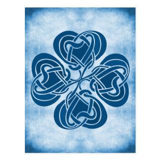 Nudo céltico azul enrrollado tarjeta postal