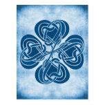 Nudo céltico azul enrrollado tarjetas postales