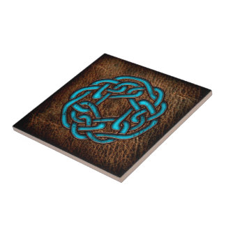 Nudo céltico azul místico en el cuero azulejo cuadrado pequeño