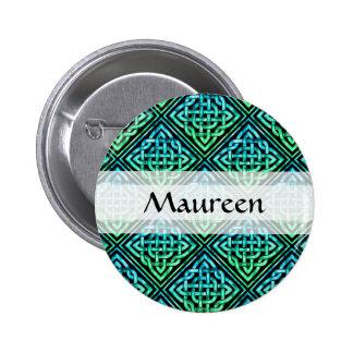 Nudo céltico de encargo - verde azul de la teja pin redondo 5 cm