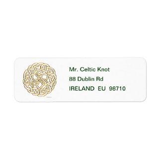 Nudo céltico de oro etiquetas de remite