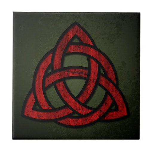 Nudo céltico de Triquet (rojo y negro en verde del Azulejos Ceramicos