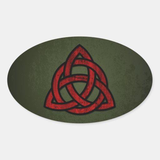 Nudo céltico de Triquet (rojo y negro en verde del Calcomanías Óvales
