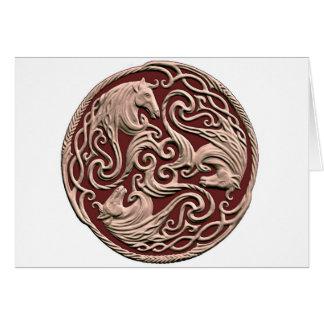Nudo céltico del caballo tarjeta de felicitación