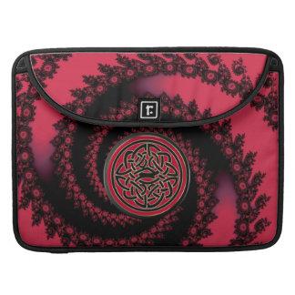 Nudo céltico del escudo del fractal espiral negro fundas para macbook pro