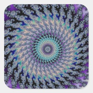 Nudo céltico del platino en fractal en colores pegatina cuadrada