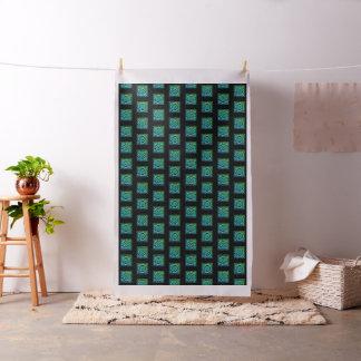 Nudo céltico - diseño cuadrado del verde azul telas