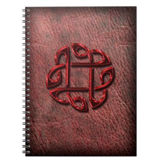 Nudo céltico en el cuero auténtico libros de apuntes con espiral