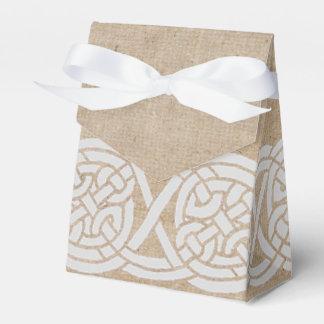 nudo céltico en la arpillera cajas para regalos de boda