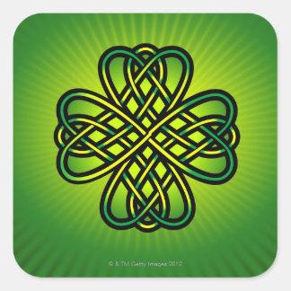 Nudo céltico en resplandor verde colcomanias cuadradases