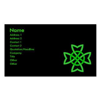 Nudo céltico irlandés verde tarjetas de visita