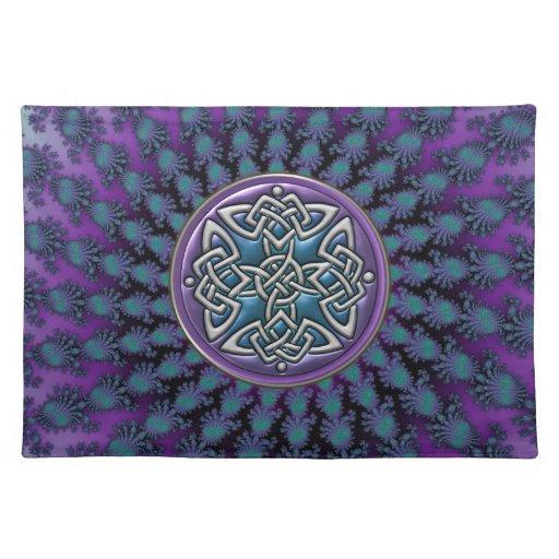 Nudo céltico metálico del fractal fresco original manteles individuales