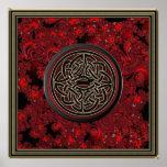 Nudo céltico rojo del oro negro y metálico en frac impresiones