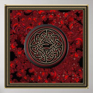 Nudo céltico rojo del oro negro y metálico en frac
