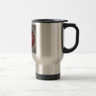 Nudo céltico rojo y negro de la trinidad del arte taza de viaje de acero inoxidable