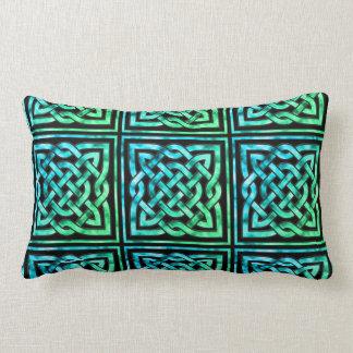 Nudo céltico - verde azul cuadrado cojin