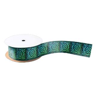 Nudo céltico - verde azul cuadrado lazo de raso