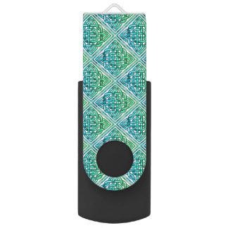 Nudo céltico - verde azul del diamante memoria USB 2.0 giratoria