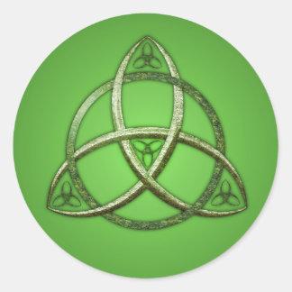 Nudo céltico verde de la trinidad pegatina