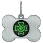 Nudo céltico verde irlandés placas de nombre de mascota