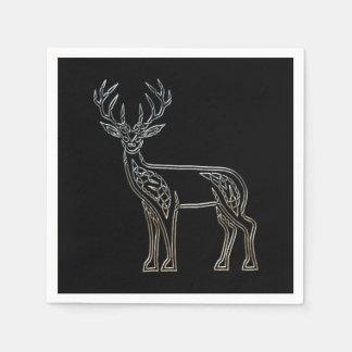 Nudo de estilo celta de los ciervos de plata y servilleta desechable