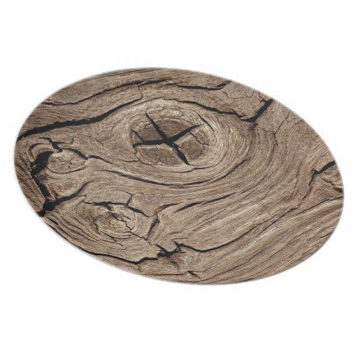 Nudo de madera plato