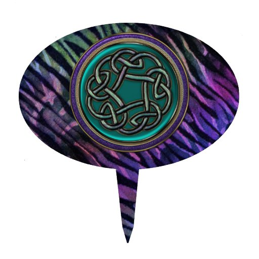 Nudo del Celtic del metal del verde de jade Decoración Para Tarta