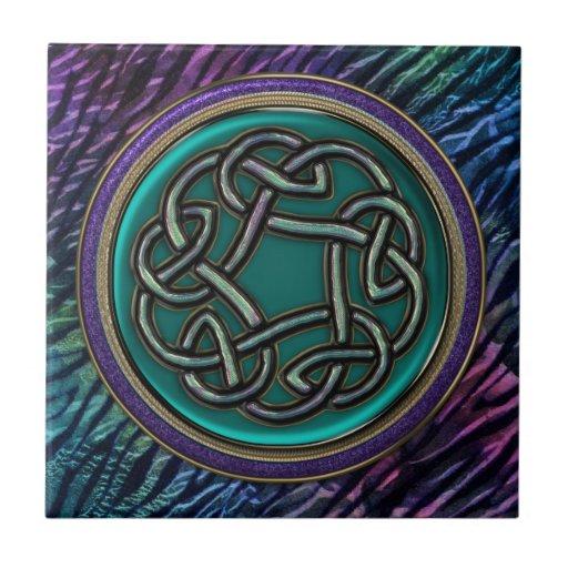 Nudo del Celtic del metal del verde de jade Tejas Cerámicas