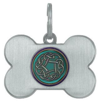 Nudo del Celtic del metal del verde de jade Placa De Nombre De Mascota